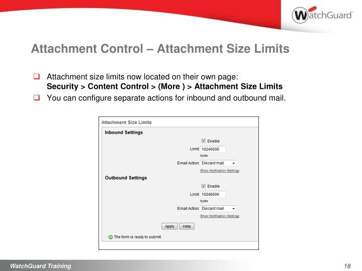 Attachment Control – Attachment Size Limits
