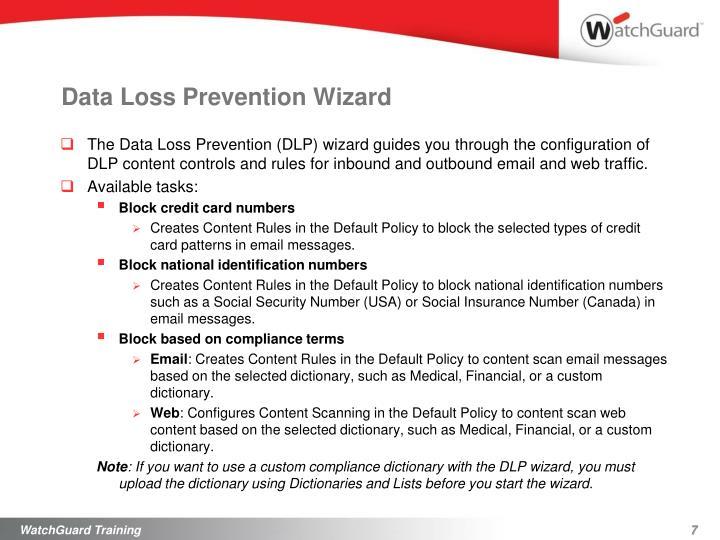 Data Loss Prevention Wizard