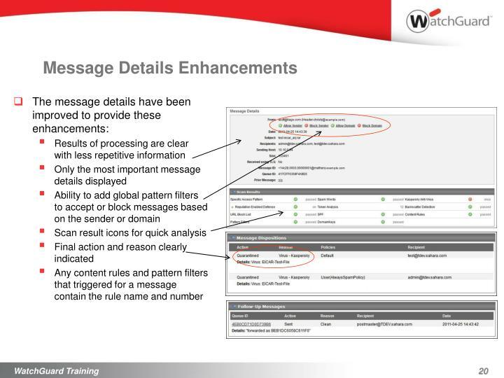 Message Details Enhancements