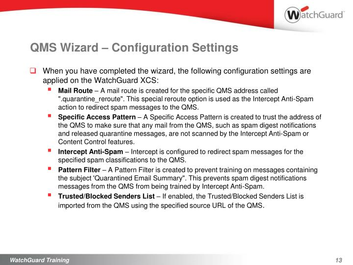 QMS Wizard – Configuration Settings