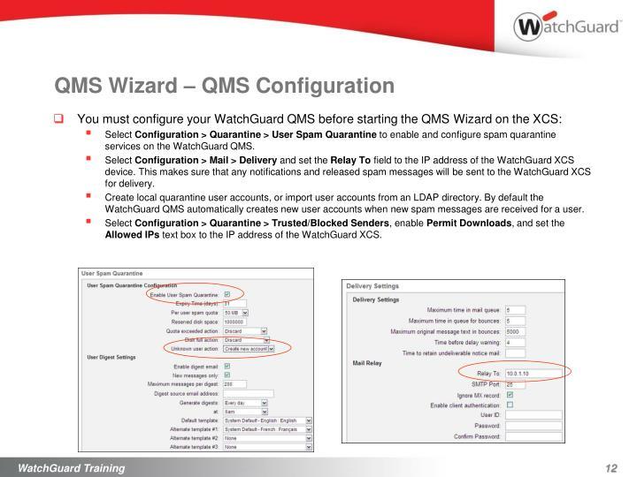 QMS Wizard – QMS Configuration