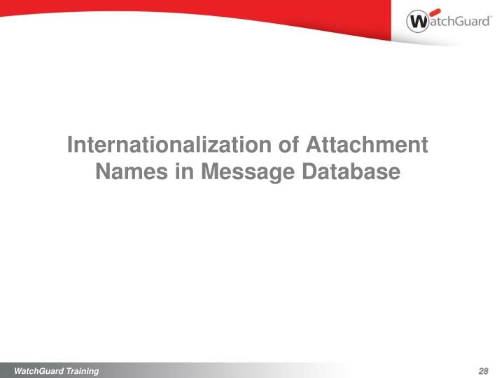 Internationalization of Attachment Names in Message Database