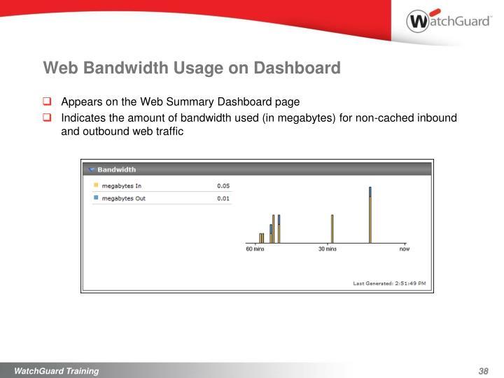 Web Bandwidth Usage on Dashboard