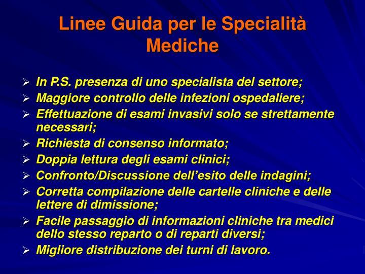 Linee Guida per le Specialità Mediche