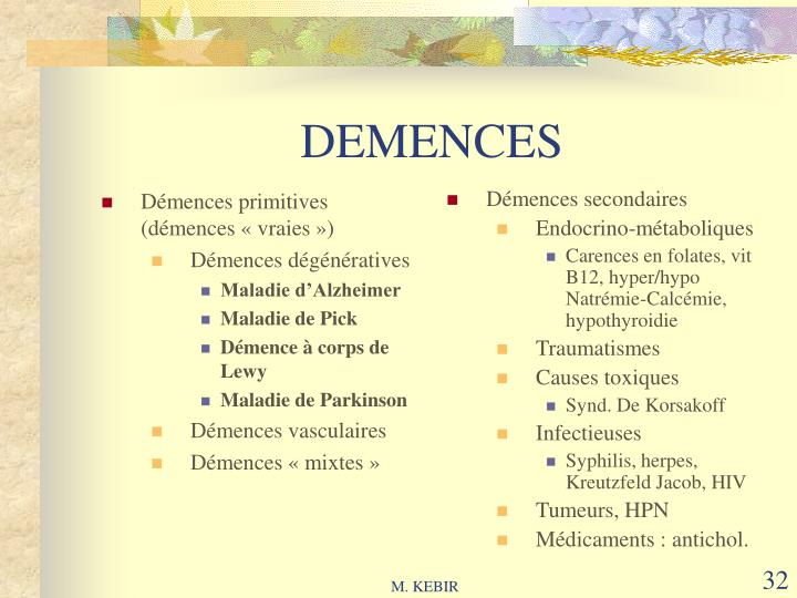 Démences primitives (démences «vraies»)
