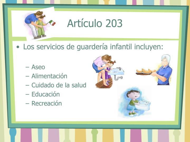 Artículo 203