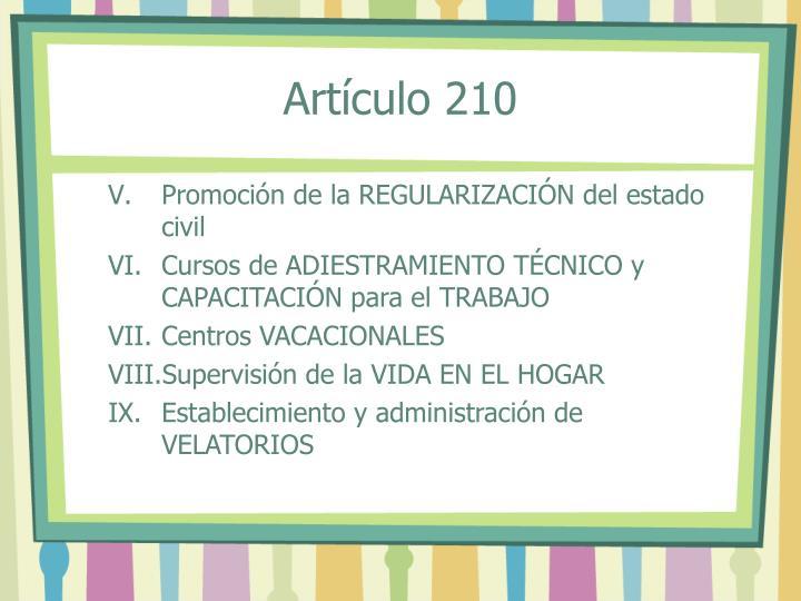 Artículo 210