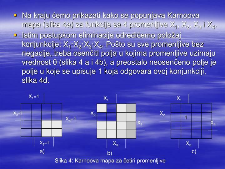 Na kraju ćemo prikazati kako se popunjava Karnoova mapa (slika 4a) za funkcije sa 4 promenljive X