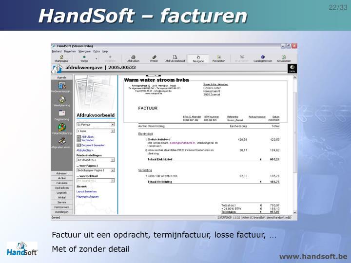 HandSoft – facturen