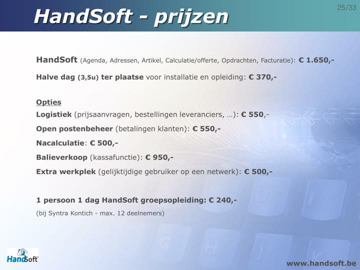 HandSoft - prijzen