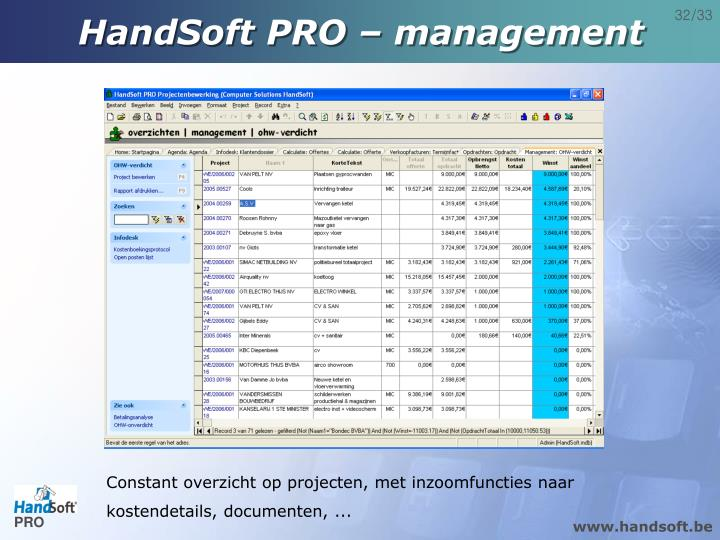 HandSoft PRO – management