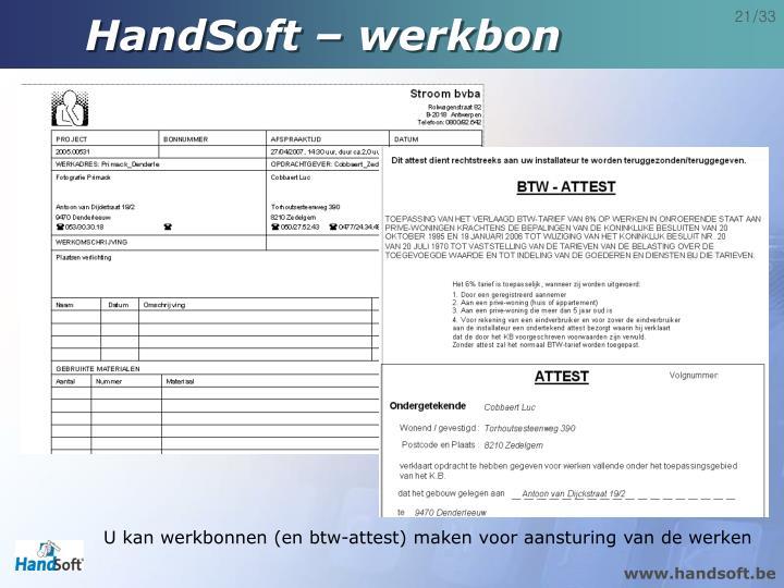 HandSoft – werkbon