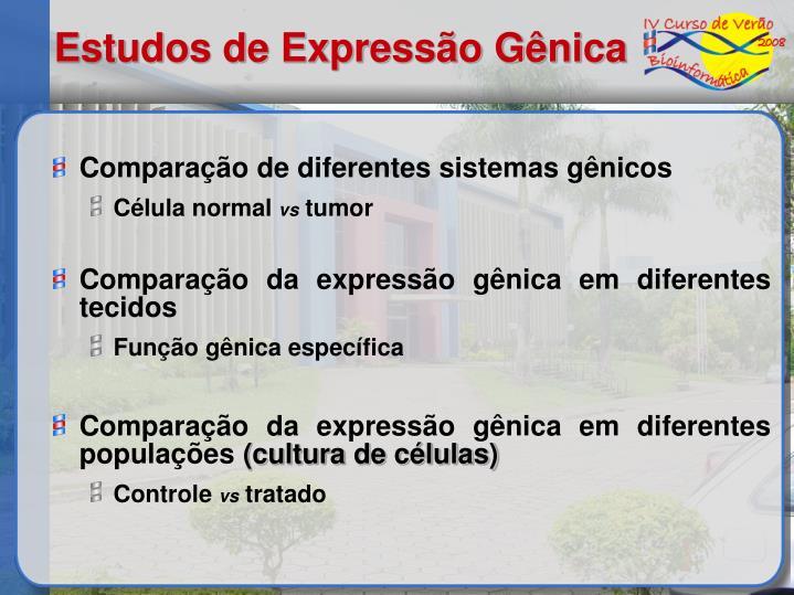 Comparação de diferentes sistemas gênicos