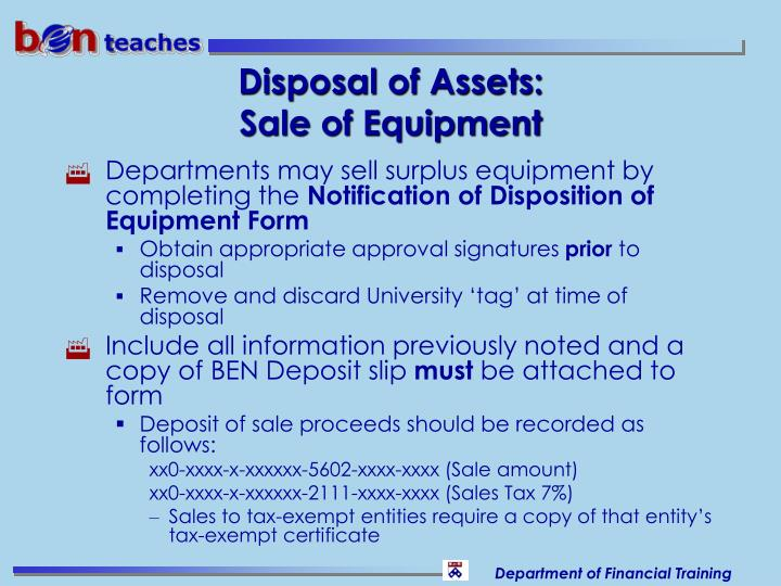Disposal of Assets: