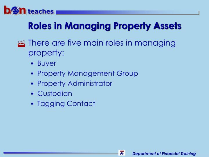 Roles in Managing Property Assets