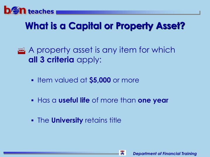 What is a Capital or Property Asset?
