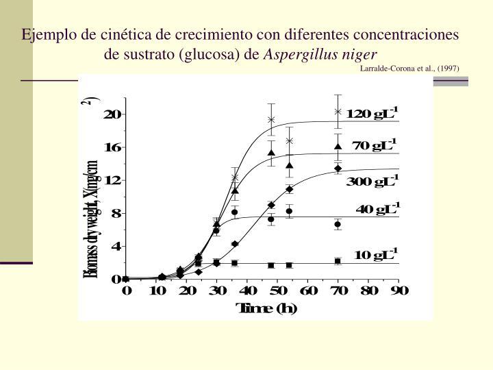 Ejemplo de cinética de crecimiento con diferentes concentraciones de sustrato (glucosa) de