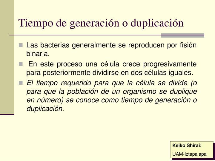 Tiempo de generación o duplicación