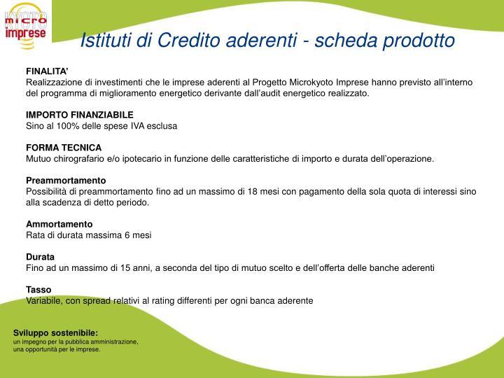 Istituti di Credito aderenti - scheda prodotto