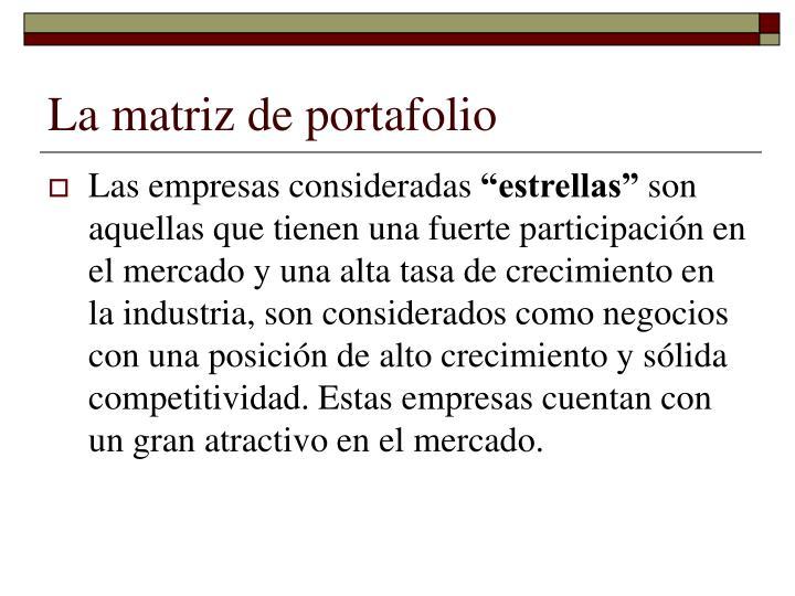 La matriz de portafolio