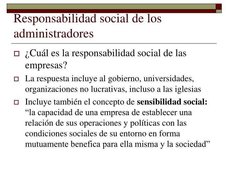 Responsabilidad social de los administradores