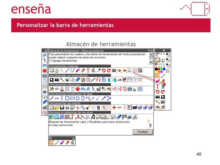 Personalizar la barra de herramientas