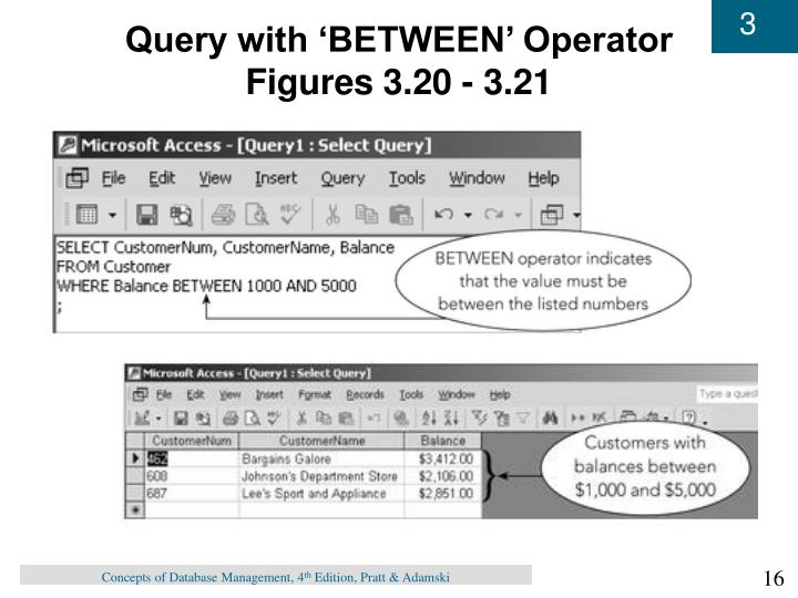 Query with 'BETWEEN' Operator