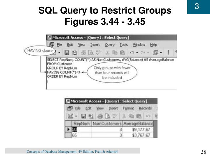 SQL Query to Restrict Groups Figures 3.44 - 3.45