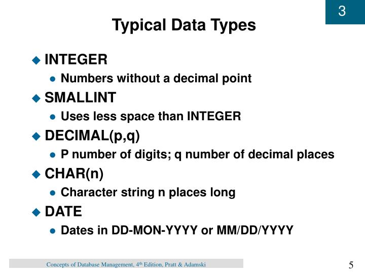 Typical Data Types