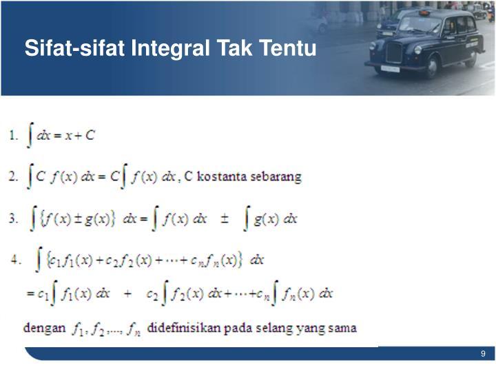 Sifat-sifat Integral Tak Tentu