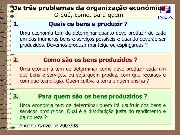 Os três problemas da organização económica