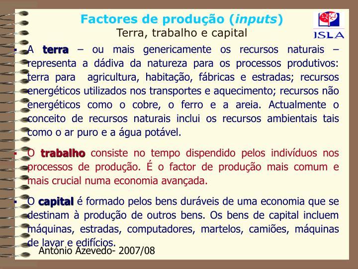 Factores de produção (