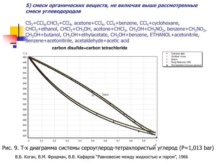 5) смеси органических веществ, не включая выше рассмотренные смеси углеводородов