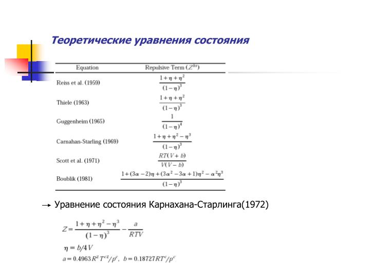 Теоретические уравнения состояния