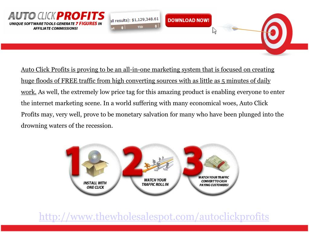 Auto Click Profits is proving to be an all-in-one marketing system that is focused on creating huge floods of FREE traffic from high converting sources with as little as 5 minutes of daily work.