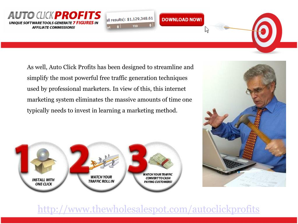 As well, Auto Click Profits has been designed to streamline and simplify the most powerful free traffic generation techniques used by professional marketers. In view of this, this internet marketing system eliminates the massive amounts of time one typically needs to invest in learning a marketing method.