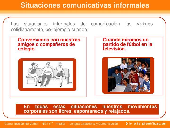Situaciones comunicativas informales