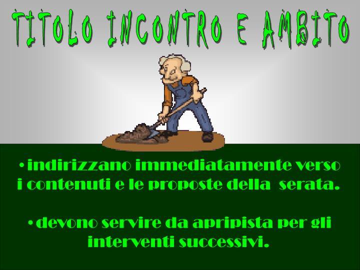 TITOLO INCONTRO E AMBITO