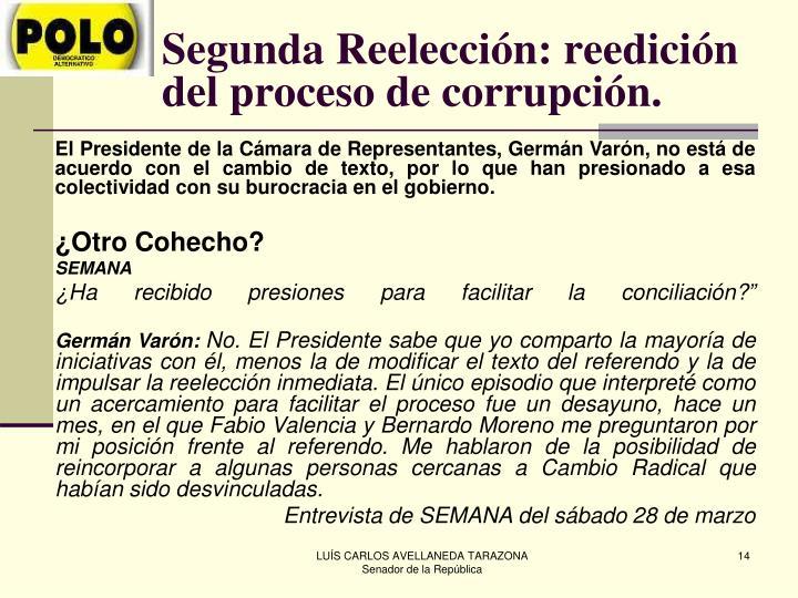 Segunda Reelección: reedición del proceso de corrupción.