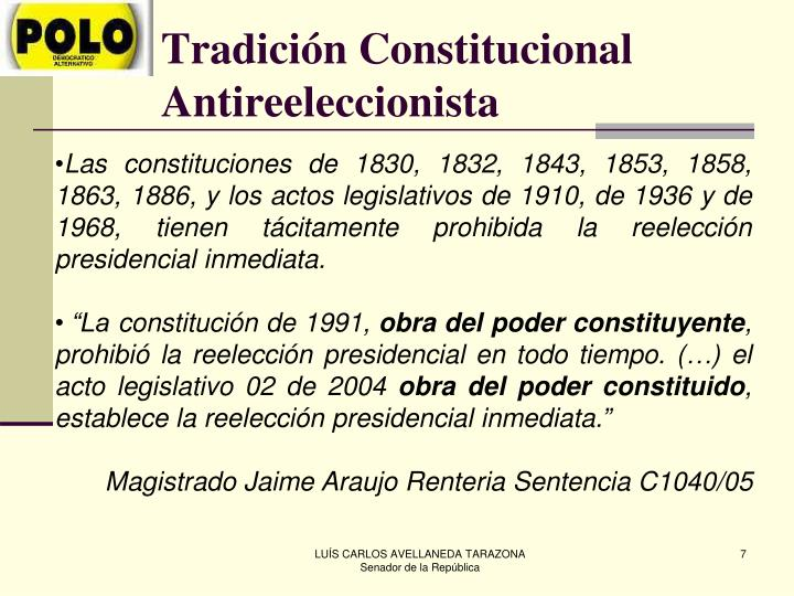 Tradición Constitucional Antireeleccionista