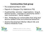 communities sub group