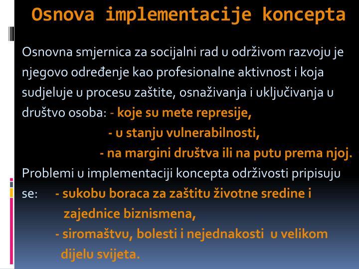 Osnova implementacije koncepta
