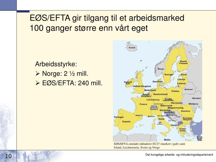 EØS/EFTA gir tilgang til et arbeidsmarked 100 ganger større enn vårt eget