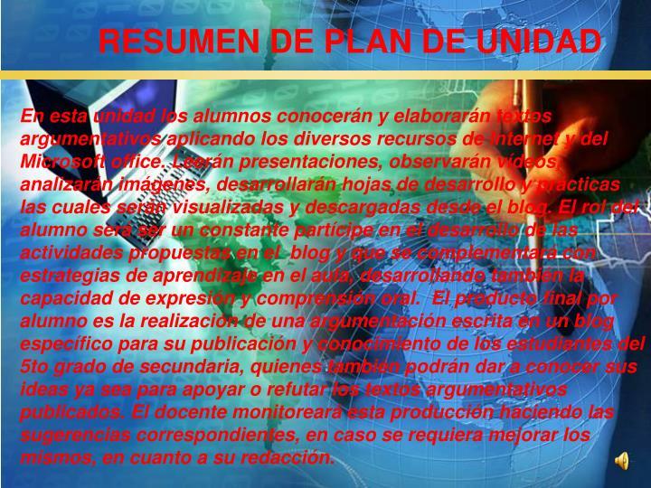 RESUMEN DE PLAN DE UNIDAD