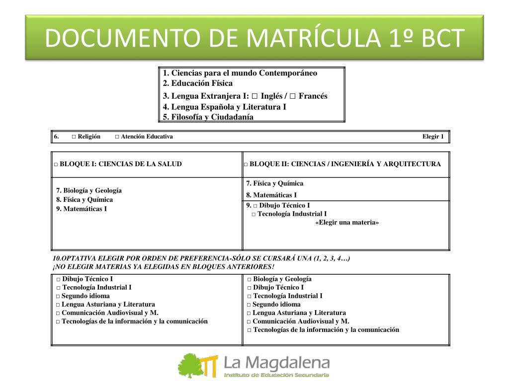 DOCUMENTO DE MATRÍCULA 1º BCT
