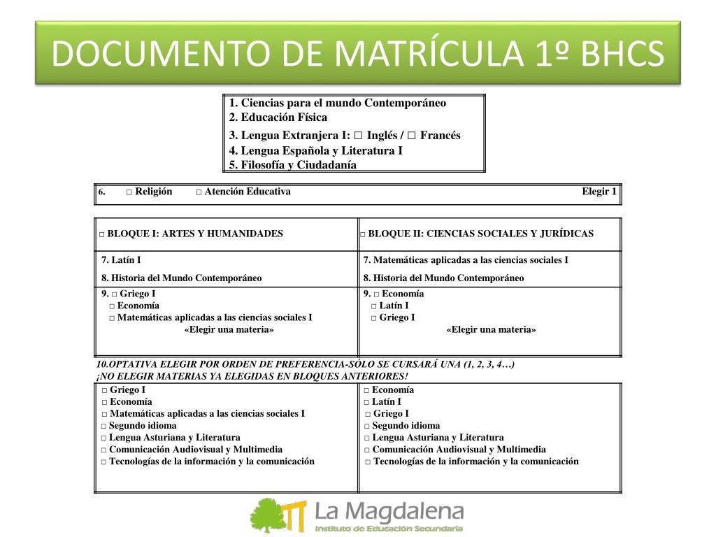 DOCUMENTO DE MATRÍCULA 1º BHCS