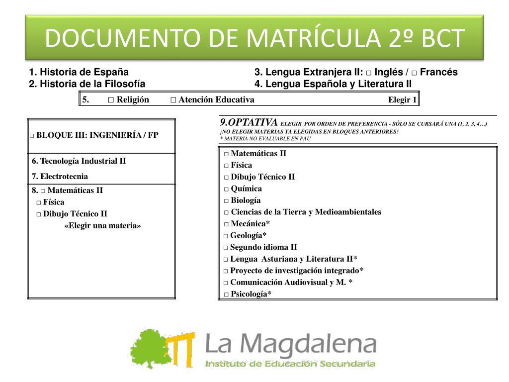 DOCUMENTO DE MATRÍCULA 2º BCT