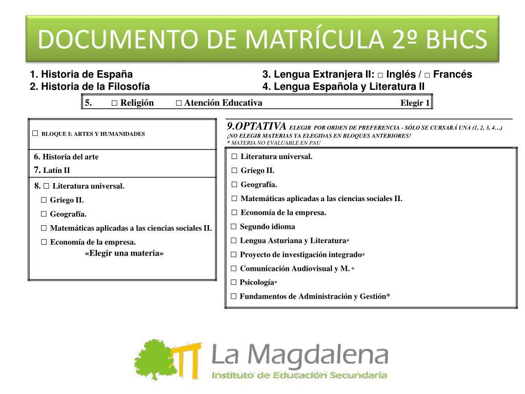DOCUMENTO DE MATRÍCULA 2º BHCS