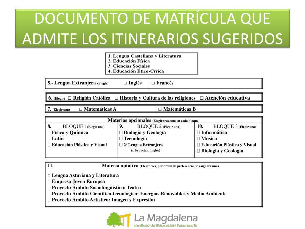 DOCUMENTO DE MATRÍCULA QUE ADMITE LOS ITINERARIOS SUGERIDOS
