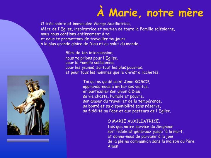 À Marie, notre mère